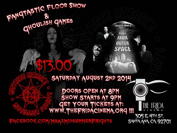 Flyer for Mistress Azrael's Midsummer Frights on August 2, 2014