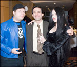 Kevin Sean Michaels, Fangoria's Tony Timpone, and Elske McCain as Vampira